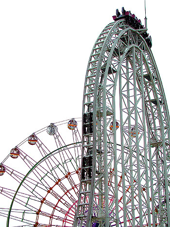Dodonpa, one of the world's fastest rollercoasters at 107 mph.