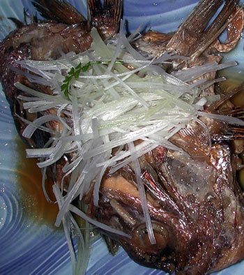 Freshly caught tai (sea bream) head, Restaurant Zau-o.