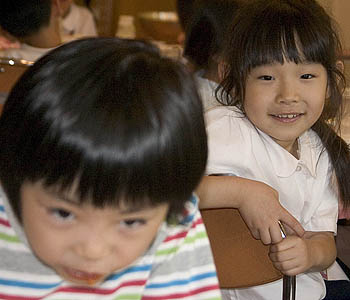 Two first grade students, Jinnan Elementary School.